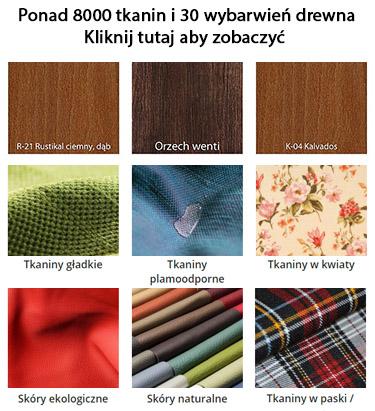 dostępne tkaniny i wybarwienia drewna