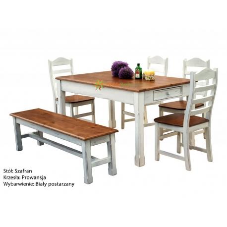 Stół Szafran + 4 krzesła Prowansja + ławka