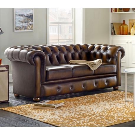 Sofa chesterfield ze skóry Satin