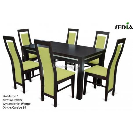 Stół Aston 1 + 6 krzeseł Drawer