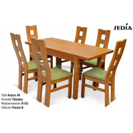 Stół Aston M + 6 krzeseł Tabako