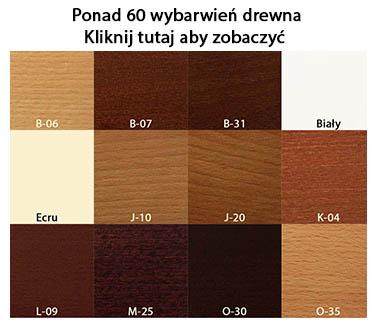 dostępne wybarwienia drewna